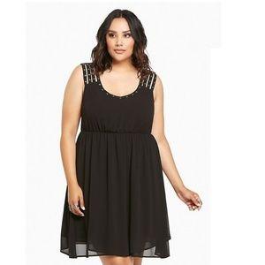 NWOT Torrid Black Studded Strappy Chiffon Dress  3